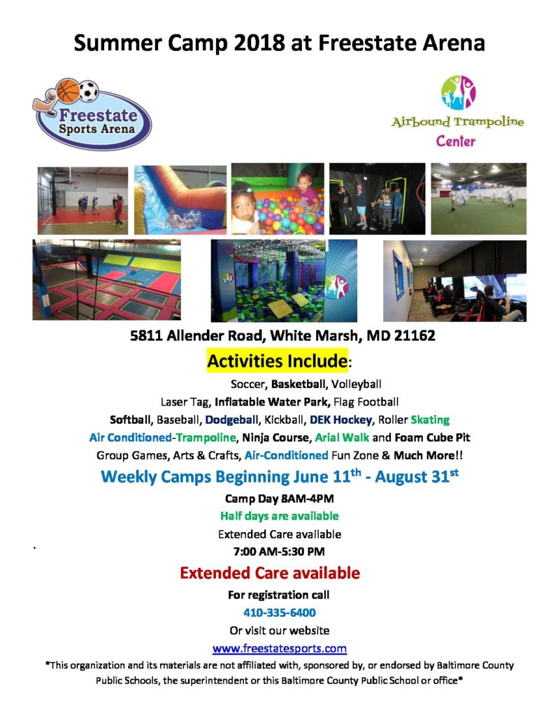 Freestate Summer Camp Flyer 2018